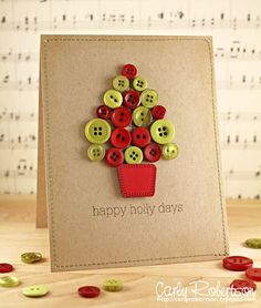 Christmas Countdown : Top 10 Cards - Serenity You Homemade Christmas Cards, Homemade Cards, Handmade Christmas, Christmas Countdown, Christmas Fun, Holiday Fun, Button Christmas Cards, Christmas Buttons, Christmas Presents