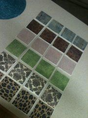 Coasters I made for Christmas gifts, less than 30 cents a piece to make! Cheap and so easy! Tile from Lowes, Scrapbook Paper and Mod Podge!