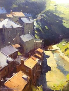 #oil #painting #art - English Rooftops, Staites by Colley Whisson