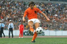 Johan Cruyff of Holland in action at the 1974 World Cup Finals.