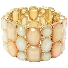 Multistone Stretch Bracelet - Peach/White ($13) ❤ liked on Polyvore