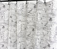 Black & White  Panel Curtain. News letter print  Curtain. 2 panel curtain. Window Treatment. Curtain.cotton.unlined.Choose  your sizes.cm by TwistedBobbinDesigns on Etsy