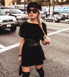 Silence + Noise Velvet Boat-Neck Mini Dress at High End Hippie Store   Lookave  #Dress #MiniDress #Velvet #VelvetDress #VelvetMiniDress #UrbanOutfitters #Corset #CorsetBelt #Hat #Beret #BeretHat #FiddlerHat #HighEndHippie #HighEndHippieStore #ootd #fashion #style #streetstyle #onlineshopping #outfit #trendy #look #lookave @kristenritchie @urbanoutfitters