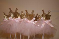Set of 6 Pink & Gold Ballerina cupcake Toppers, Princess tutu Ballet Dancer