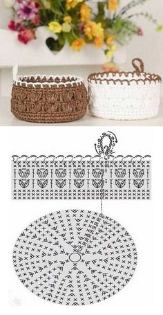 Cesta tejido en crochetcon moldes Crochet basket with molds (Visited 4 times, 1 visits today) Crochet Bowl, Crochet Basket Pattern, Crochet Diagram, Cute Crochet, Crochet Motif, Crochet Flowers, Crochet Stitches, Knit Crochet, Crochet Patterns