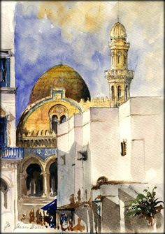 "Ketchaoua Mosque Algiers algeria casbah orientalist desert cityscape 11x8"" 29x21 cm art original Watercolor painting by Juan bosco on Etsy, $120.00"