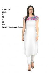 Ethnic Wear Readymade White Crepe Kurti - 141