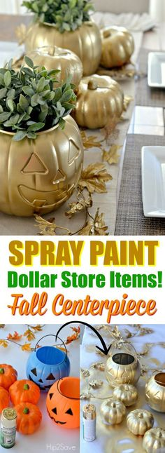 Transform a Dollar Store Pumpkin//Easy DIY halloween centerpiece//Halloween spray paint ideas//treat bucket centerpiece Table Halloween, Casa Halloween, Holidays Halloween, Halloween Crafts, Halloween Centerpieces, Halloween Bunco, Dollar Tree Halloween Decor, Dollar Store Halloween, Pumpkin Centerpieces