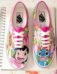 Beautifully painted Lilo and Stitch vans Disney Vans, Disney Shoes, Disney Outfits, Gym Outfits, Fitness Outfits, Buy Shoes, Vans Shoes, Sock Shoes, Me Too Shoes