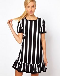 Buy ASOS Shift Dress With Ruffle Hem In Vertical Stripe Print at ASOS. Get the latest trends with ASOS now. Asos, Casual Dresses, Fashion Dresses, Short Sleeve Dresses, Sassy Pants, Style Casual, White Outfits, Fashion 2018, Maternity Fashion