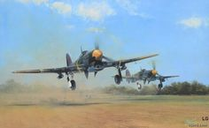 "TYPHOON SCRAMBLE – Richard Taylor // Led by Squadron Commander Roland ""Bee"" Beamont, Hawker Typhoons of 609 Squadron are illustrated as they scramble from their base at Manston in April 1943."