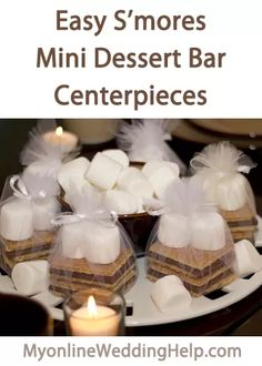 Mini smores bar wedding favors tutorial. They are the centerpieces, too. | #MyOnlineWeddingHelp
