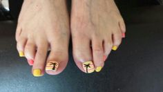 Bright summer gelish pedicure.  By Tan Adams at Belle Dame Nails.