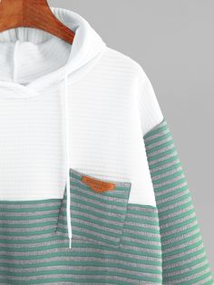 Contrast Striped High Low Hoodie