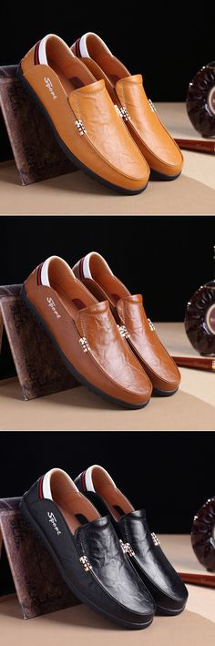 Men Rivet Decoation Soft Slip On Driving Loafers Casual Leather Shoes
