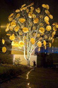 installation art, with light, tree and umbrella