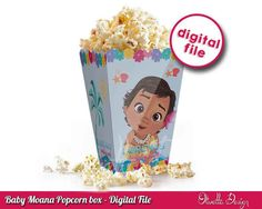 Moana Popcorn Box - with Custom Name Vaiana Birthday Party Printable DIY Favor Party - digital File