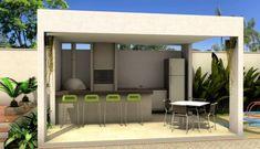 Edikte mit Barbecue: 60+ Schöne Models und Fotos! #erudiri Villa Design, House Design, Barbecue Garden, Garden Solutions, Outdoor Living, Outdoor Decor, Layout, My House, Backyard