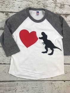 Another custom Shirt by Lil Threadz- If you want a completely custom shirt for any theme contact us Diy Valentine's Shirts, Diy Shirt, Boys Shirts, Custom Shirts, Tee Shirts, Dinosaur Valentines, Valentines For Boys, Valentine Ideas, Valentine Decorations