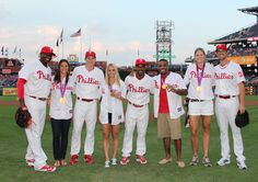 Olympians at the Phillies game on Friday, August 24. Gold medalists Carli Lloyd, Heather Mitts, Jordan Burroughs and Susan Francia with Ryan Howard, Chase Utley, Jimmy Rollins and Cole Hamels