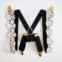 Womens Suspenders  - Ivory Lace Trim Suspenders - Gold Hardware - Fashion Suspenders for Women - Women's Suspenders - Fashion Accessories by HooksAndLuxeNY on Etsy https://www.etsy.com/listing/288815777/womens-suspenders-ivory-lace-trim