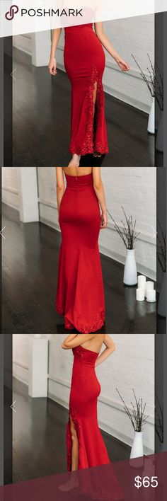 BRAND NEW NEVER BEEN WORM SVELTE RED MAXI DRESS Strapless bodycon fit with high cut front hem and gorgeous lace detailing. Invisible back zip makes for easy access Dresses Maxi