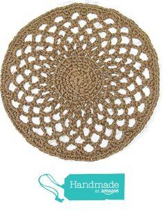 """Round Jute Doily Rug - Natural Fiber - Handmade Crochet - Openwork Lace - 27"""" from Exotiflora http://www.amazon.com/dp/B015GC6AVE/ref=hnd_sw_r_pi_dp_rRk3wb1ZCGFP4 #handmadeatamazon"""