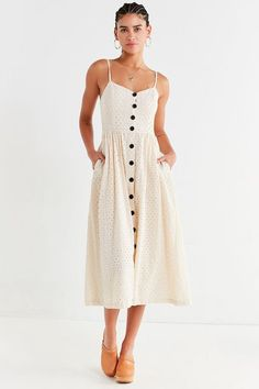 UO Abbie Eyelet Button-Down Dress