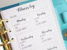 """Printable personal planner insert: """"Fitness log""""   Fitness tracker   Health workout planner   Exercise planner   Instant Download by hanaflowerdesigns on Etsy. Plan your week with these cute personal fitness planner inserts. You can use these in most personal planners to organize each day. Happy planning! :)"""