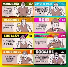 #JustGetHigh: Seems pretty accurate to me! #marijuana #meth #alcohol #acid #ecstacy #shrooms #adderall #cocaine