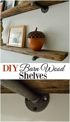 DIY Barn Wood Shelves Rustic barn wood shelves for any room in your house. A cheap and easy DIY project that would look great with industrial and farmhouse decor. - DIY barnwood shelves, with an industrial feel, for a guest bedroom - CHATFIELD COURT Easy Diy Projects, Home Projects, Project Ideas, Diy Home Decor For Apartments, Diy Simple, Barn Wood Projects, Barn Wood Crafts, Diy Tumblr, Industrial Shelving