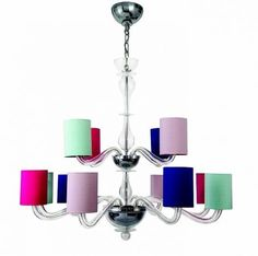 Bella Figura Romanelli Chandelier with tall drum shades (=)