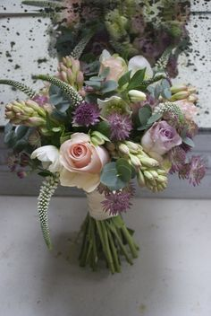Bouquet of High & Bridal Roses, Safi Roses, Tuberose, white Veronica, Astrantia and Hellebores. Created by Hannah Berry Flowers www.hannahberryflowers.co.uk