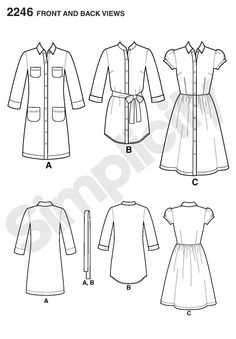 """Simplicity 2246 (Lisette Traveller) (36""""-44"""" busts), View A, 3 1/8 or 2 3/8 (Gingham, Laundered Cottons, Broadcloth, Chambray, Pique, Poplin, Seersucker, Linen) (notions: nine 1/2"""" buttons, 1 1/4 yards of 20""""-25"""" lightweight fusible interfacing)"""