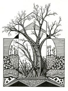 Spring Cherry Blossom, unique high contrast ink drawing, is a conceptual drawing of a tree demonstrating the main blooms of spring. Indications of the new season are jumping up around the tree as blossoms and grass and streaming water. These components of Doodle Art Drawing, Zentangle Drawings, Mandala Drawing, Abstract Drawings, Art Drawings, Zentangles, Zentangle Art Ideas, Easy Zentangle Patterns, Drawing Trees
