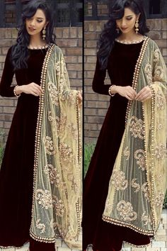 Readymade Black Velvet Anarkali Suit With Dupatta Online - Black Velvet Anarkali Suit With Dupatta Pakistani Dresses Casual, Indian Fashion Dresses, Indian Gowns Dresses, Dress Indian Style, Pakistani Dress Design, Indian Designer Outfits, Indian Outfits, Stylish Dress Designs, Stylish Dresses