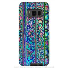 Colorful Floral Line Art - Artistic Samsung Galaxy S8 Tough Case - Dual Layer Protection - malaya
