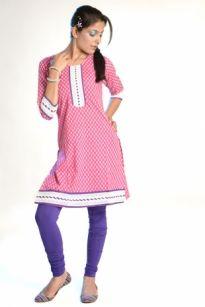 """3/4 #Sleeve Printed #Kurti""  100% Cotton, round neck, 3/4 sleeve kurti, embellish with laces makes it graceful regular wear kurti. Price: 359"