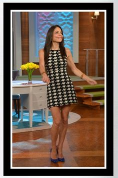 """Buy Bethenny Frankel's a black and white Alice + Olivia Everleigh Houndstooth Knit Dress and Gucci Gloria Patent Leather Heels - """"Bethenny"""" ..."""
