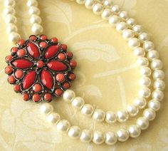 Coral Necklace Red Coral Jewelry Pearl Necklace by zafirenia, $47.00