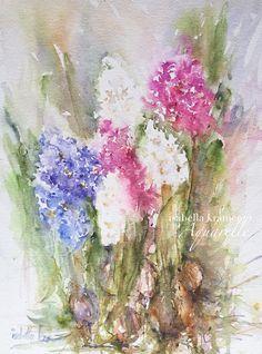 watercolor, painting, hyacinth, spring flowers, painting, flower painting, Aquarell, Hyazinthen, veredit, Isabella Kramer,