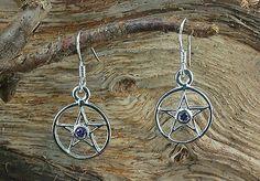 Stern mit lila Zirkonia, Star, Stein, Ohrhänger Ohrringe Ohrschmuck 925 Silber
