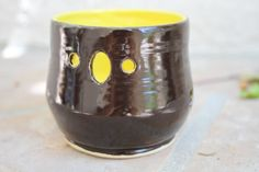 Black and Yellow Votive handmade ceramic candle holder tea light lantern modern contemporary home unique gifts for the home by ManuelaMarinoCeramic on Etsy