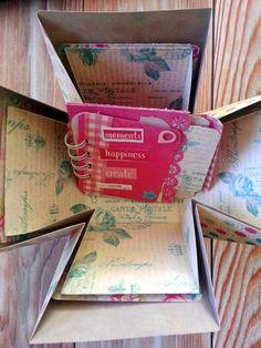 Mini en caja de la mano de El scrap de Pe #scrapbooking #explodingbox #minialbum #flourish #authentiquepaper Flourish, Mini Albums, Scrap, Create, Paper, Projects, Home Decor, Log Projects, Blue Prints