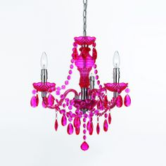 angelo:HOME Hot Pink 3 Light Mini Chandelier nursery,bedroom,bathroom,diningroom