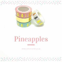 Foil 20 Pink with Gold Pineapples  Foil 23 Blue with Gold Pineapples Foil 29 Gold Pineapples  Get them all at www.cottoncandi.co.za Gold Pineapple, Washi Tape, Baby Shoes, Pink, Cotton, Blue, Baby Boy Shoes, Pink Hair, Roses