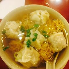H K Wonton Garden - New York, NY, United States. Wonton noodle soup where the filling texture suggests that it is made out of meat by-product. :(