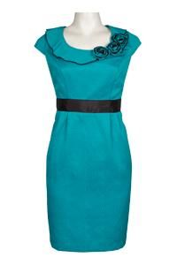 Another Thyme Cotton Jacquard Dress with Rosette Neckline in Turquoise