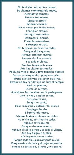 Mario Benedetti - No te rindas - Don´t give up