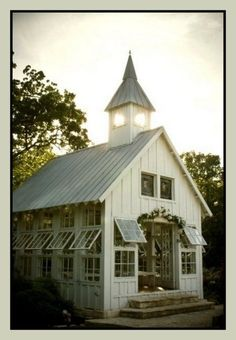 Beautiful barn turned greenhouse oh how I would love this in my yard. Pjb